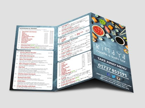 Kimaya Takeaway Menu Design